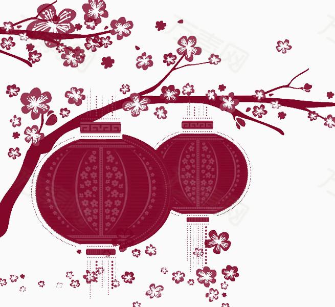 万素网提供手绘梅花树红灯笼png设计素材,背景素材