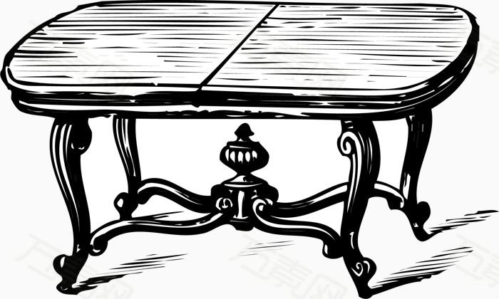 矢量手绘欧式桌子图片免费下载_卡通手绘_万素网