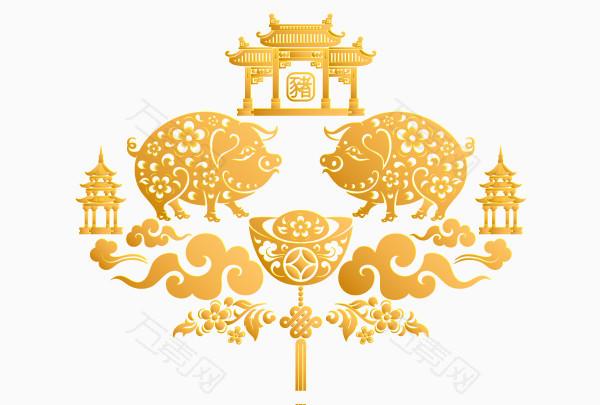 2019年金猪中国风图片