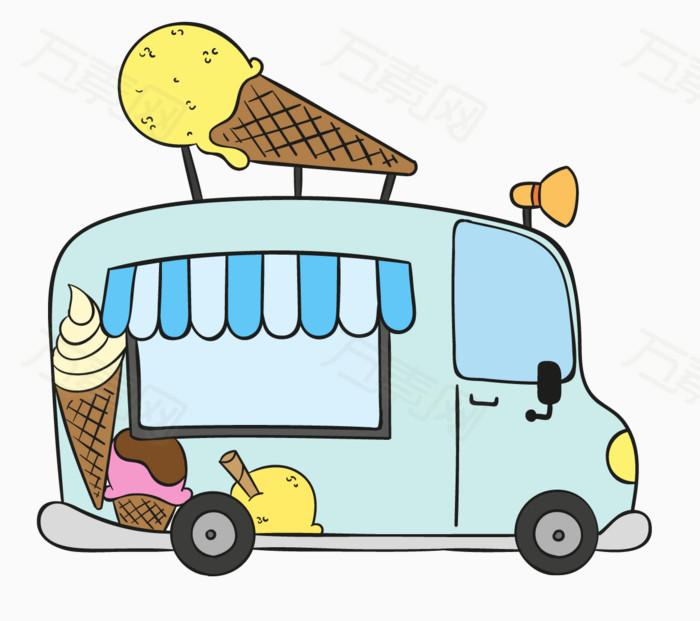 卡通 手绘 汽车 冰淇淋 购买 夏天