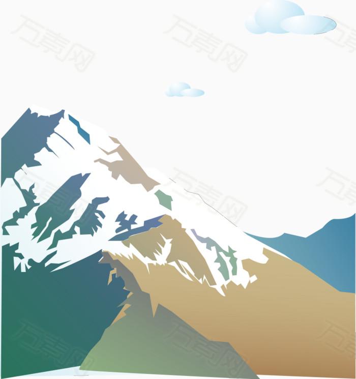 手绘彩色白云冰山