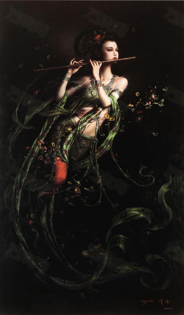 敦煌飞天神话仙女古代人像油画