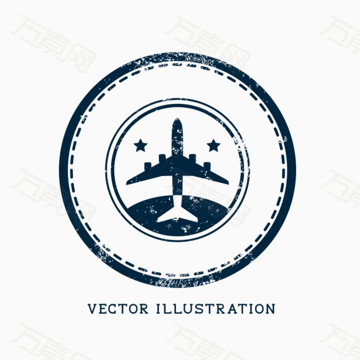 印章飞机图标矢量素材