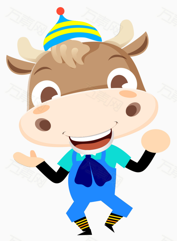 牛 小牛 卡通 手绘 戴帽子的小牛 小动物 可爱