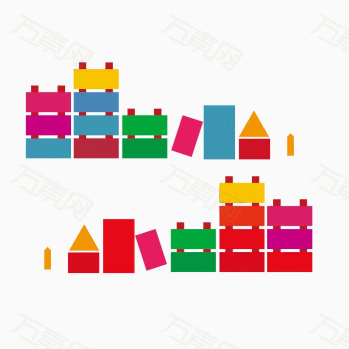积木 彩色 儿童 玩具 抽象 扁平 素材 元素 pn