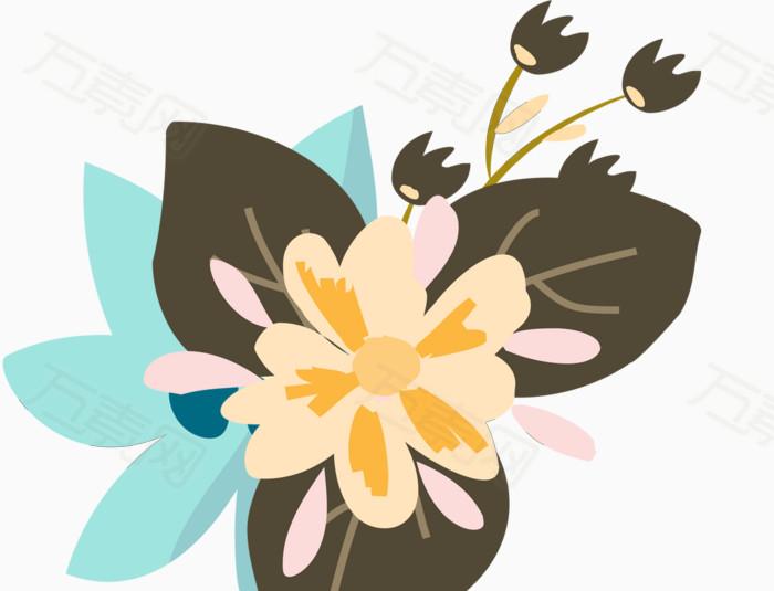 扁平化 花朵 花瓣 花蕾   卡通 手绘