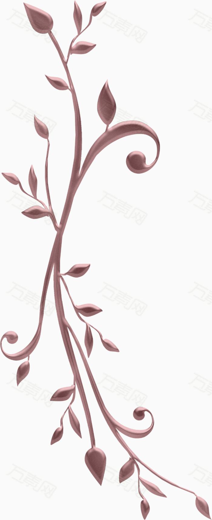 手绘森女长条藤蔓