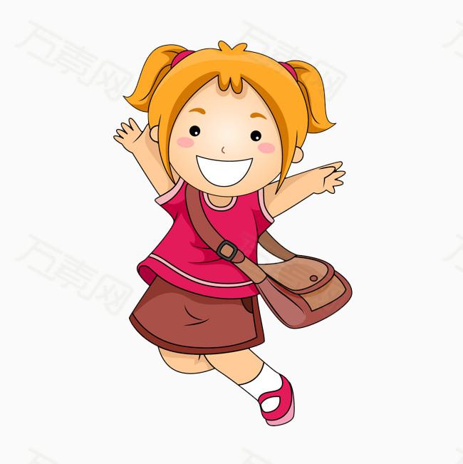 卡通女孩 手绘女孩 背着书包的女孩 女生 儿童 开心跳起来的女孩 人物