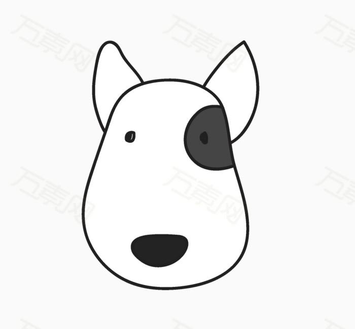 61 儿童节 小狗 卡通动物 手绘动物 黑白 插画