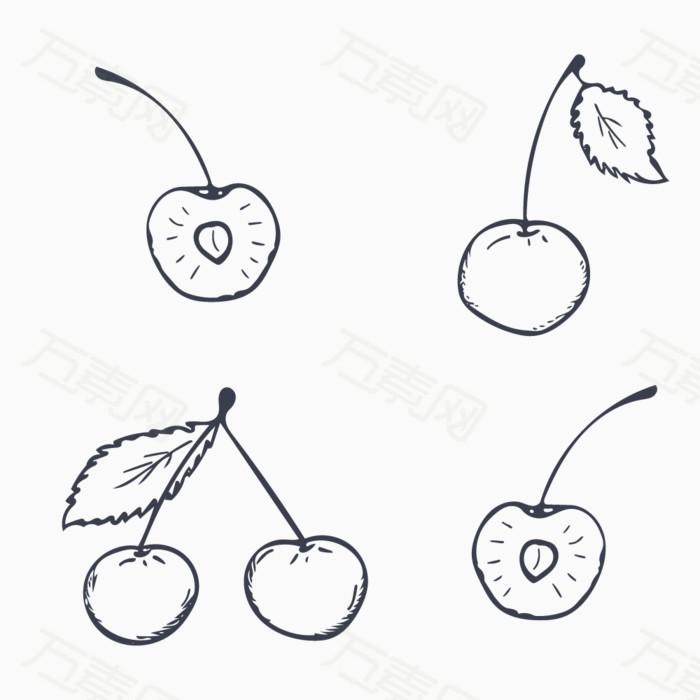 手绘线稿 水果 樱桃 车厘子 手绘樱桃