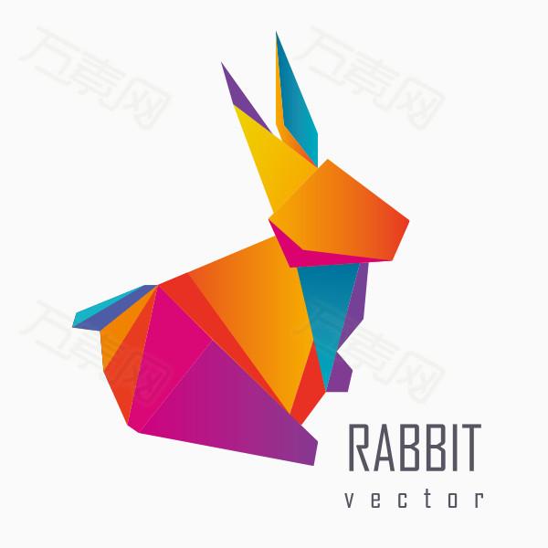 色块拼接动物兔子矢量素材