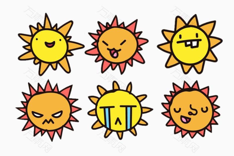 分享者mr 树 万素网提供可爱太阳表情集png设计素材,背景素材下载.