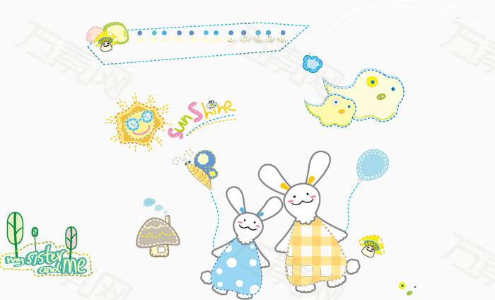 拿着气球的可爱两只兔子