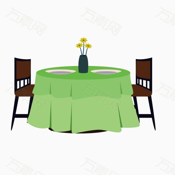 矢量卡通圆桌餐厅  万素网提供矢量卡通圆桌餐厅png设计素材,背景素材
