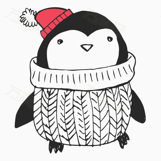 卡通手绘可爱企鹅