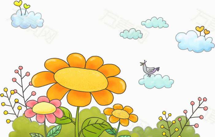 卡通手绘花朵与白云