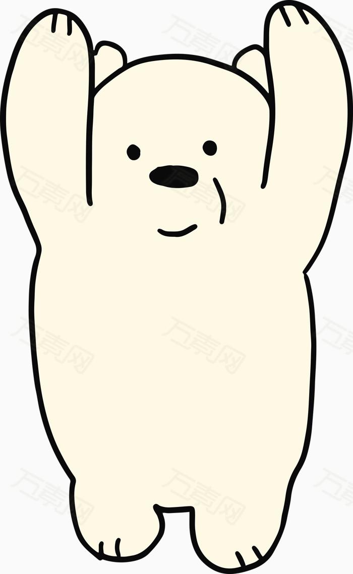 手绘线条举手跳水状可爱小熊