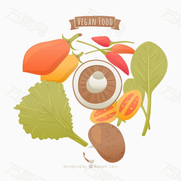 手绘彩色水果蔬菜素材图片