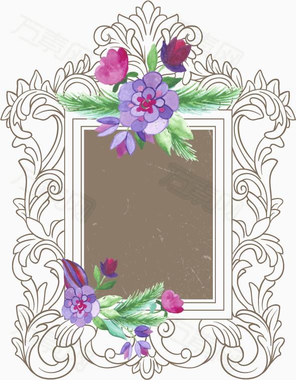 矢量复古欧式花纹植物装饰边框