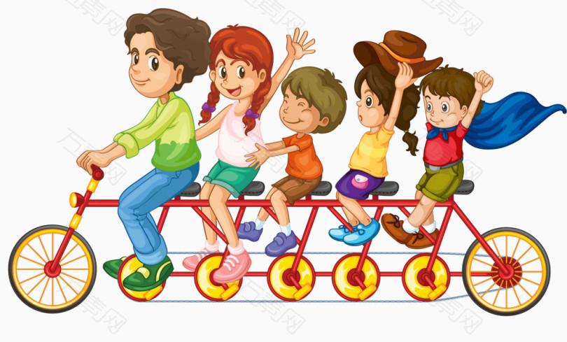 卡通手绘一起骑多人自行车的儿童图片