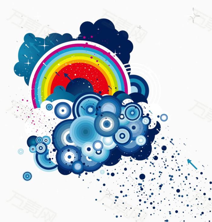 手绘彩虹云朵