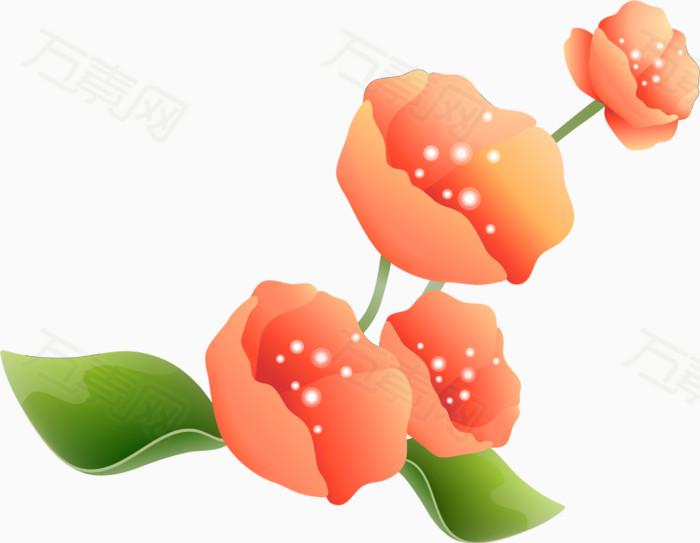 粉色花朵  绿色叶子  花卉植物  手绘植物
