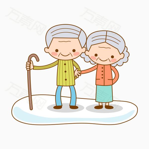 卡通手绘老爷爷和老奶奶png图片