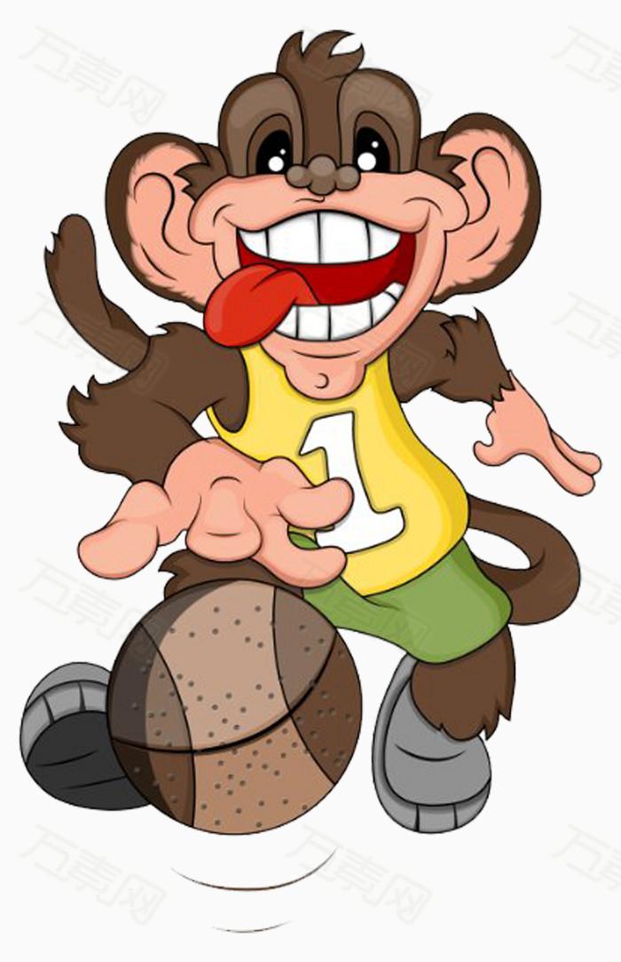 小猴子 卡通 手绘 球 篮球 可爱 小动物