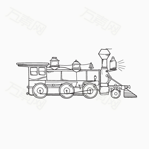 手绘 火车 线条 轨道