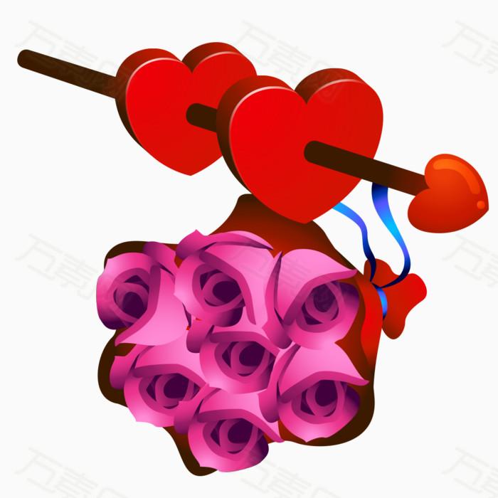 手绘玫瑰心形素材