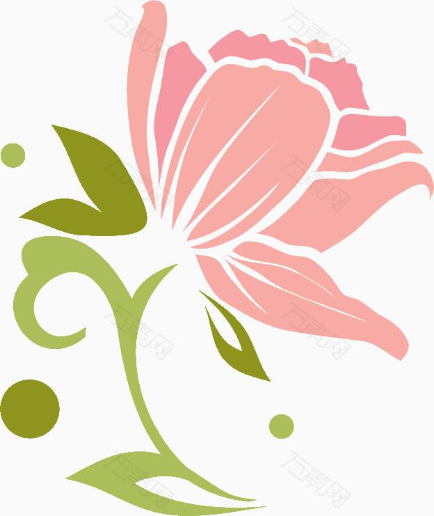 粉色手绘线条花朵_花卉植物_624*741px_编号288850