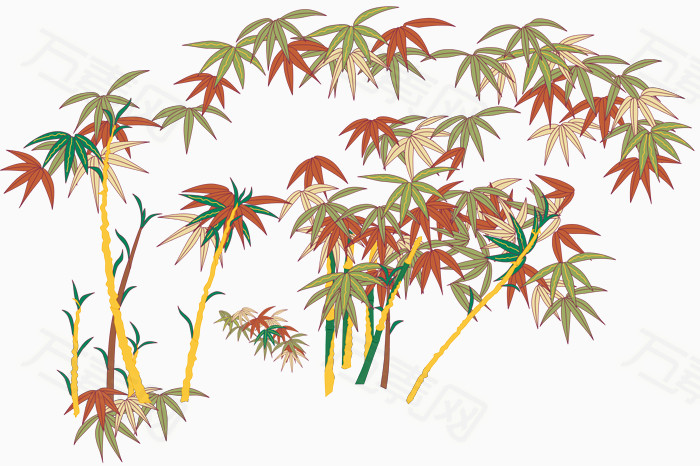 手绘彩色竹林