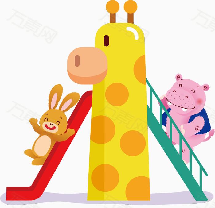 卡通玩滑梯的小动物矢量图