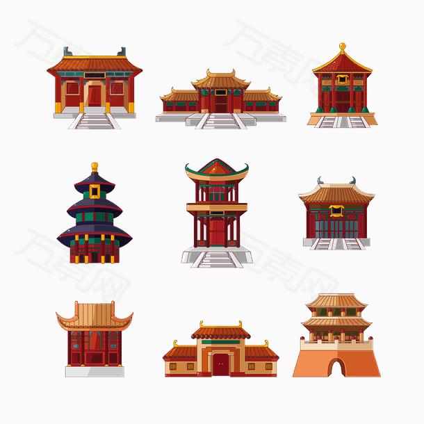 建筑,古代,中国风,传统,复古,卡通,手绘,png,元素,装饰,图标,合集