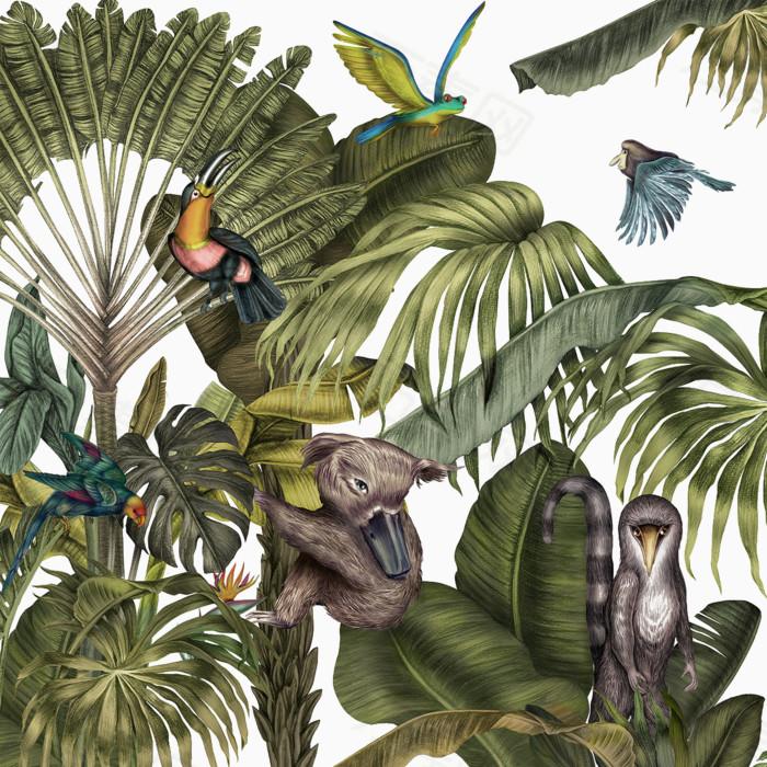 亚热带森林动物图案背景