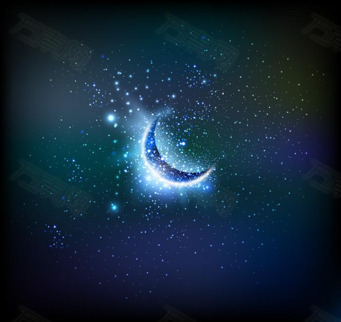 夜空星星月亮背景