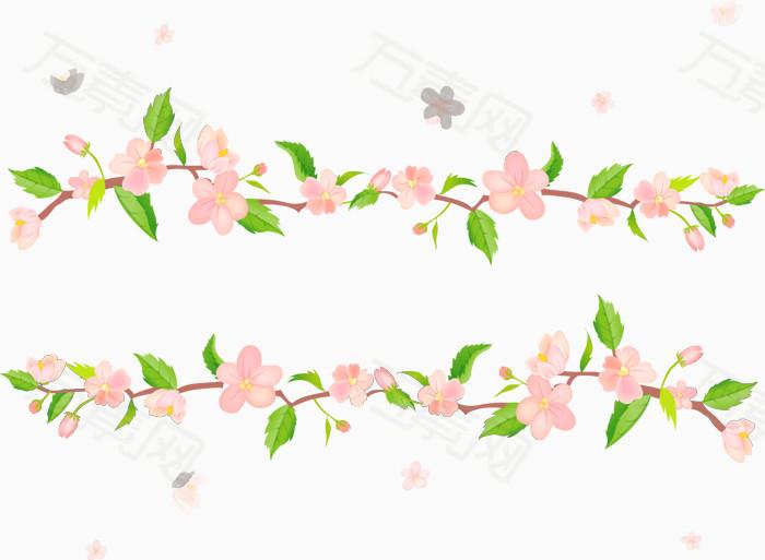 桃花藤条矢量图