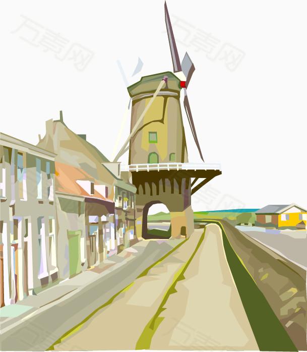荷兰风车小镇手绘