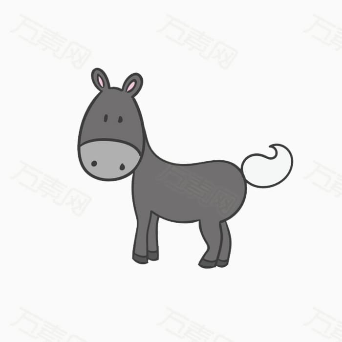 卡通 驴子 可爱 动物 灰色 png元素 卡通手绘