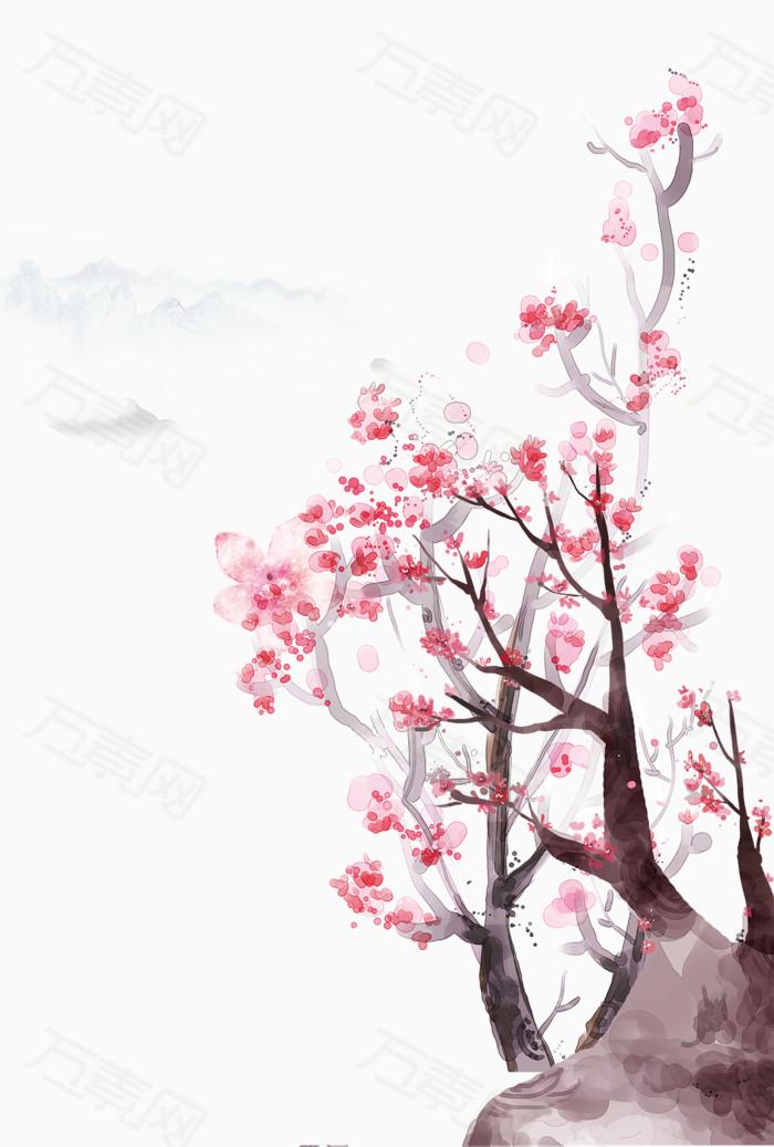 手绘水彩桃花树