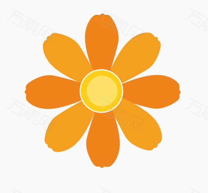 橙色小花手绘素材  万素网提供橙色小花手绘素材png设计素材,背景素材