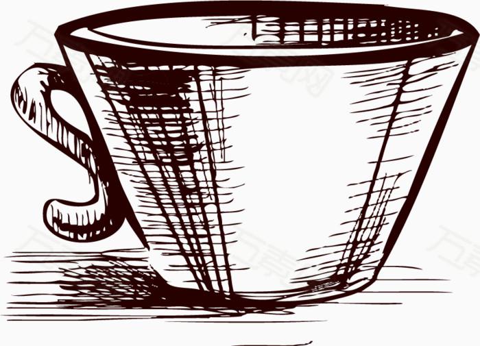 卡通手绘茶具茶杯