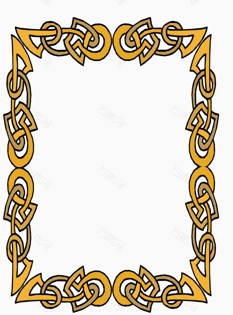万素网 免抠元素 装饰元素 黄色链条授权书边框矢量素材  图片素材