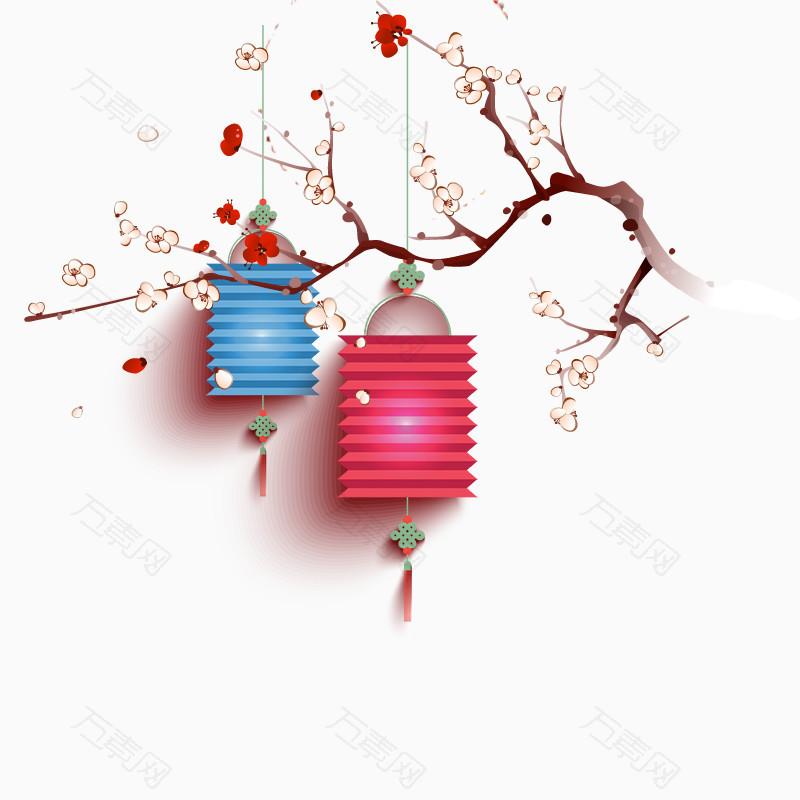 新年喜庆年货节梅花灯笼古雅