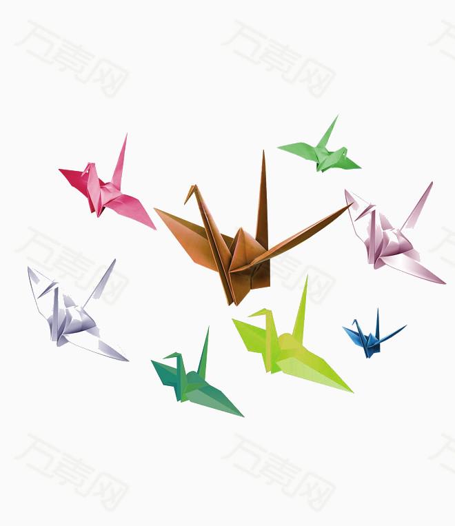 多彩清新千纸鹤  万素网提供多彩清新千纸鹤png设计素材,背景素材下载