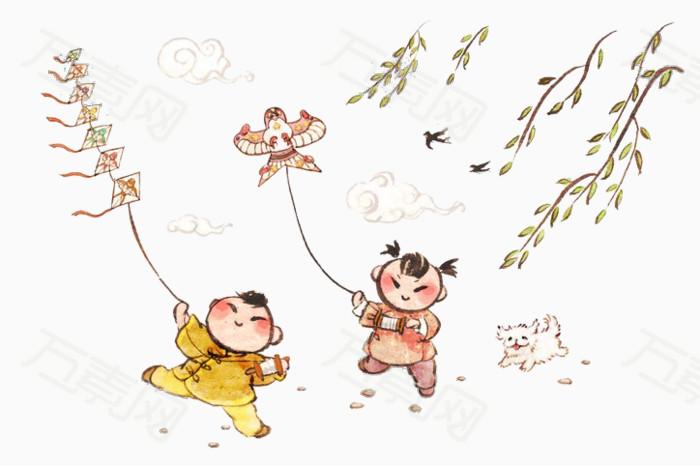 放风筝 春天 小孩放风筝 春游 踏青 春季踏青 春日踏青 远足