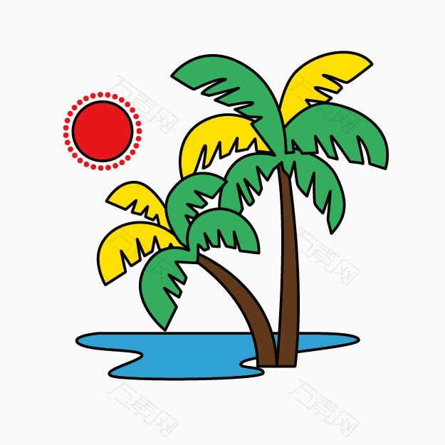 卡通图_卡通图动物 卡通手绘椰树