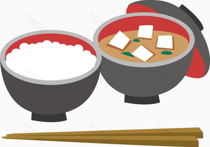 手绘米饭汤羹食物_卡通手绘_898*629px_编号2049769图片