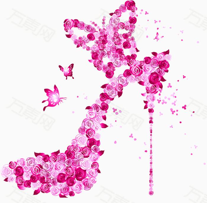 粉色高跟鞋 手绘高跟鞋 水彩高跟鞋 花朵高跟