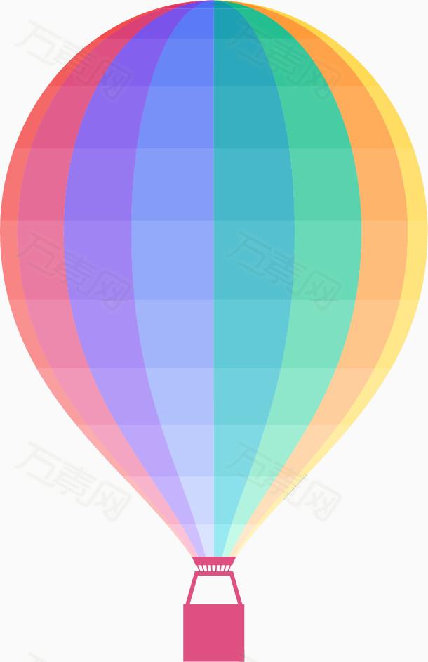 彩虹渐变色热气球